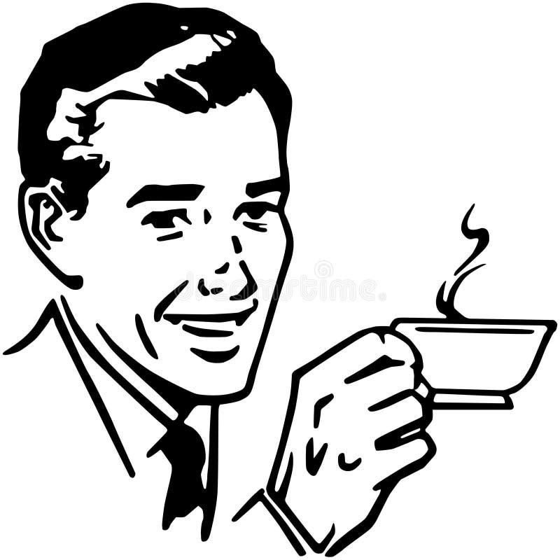 Man med kaffe stock illustrationer