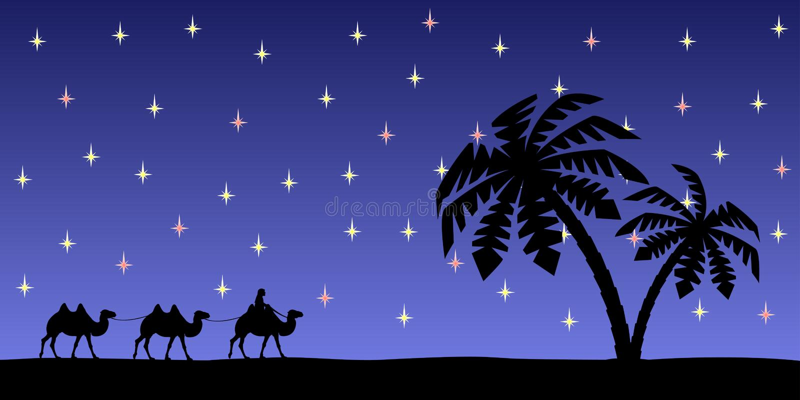 Man med kamel i natthimlen stock illustrationer