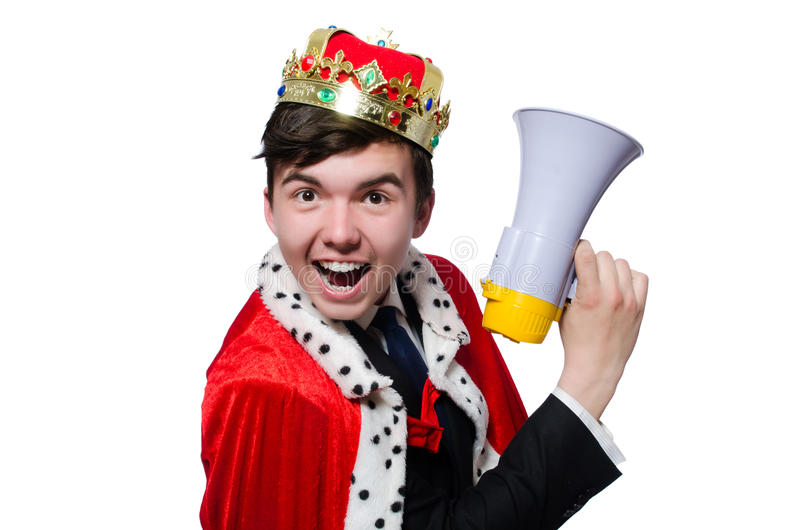 Man med kronan och megafonen royaltyfria foton