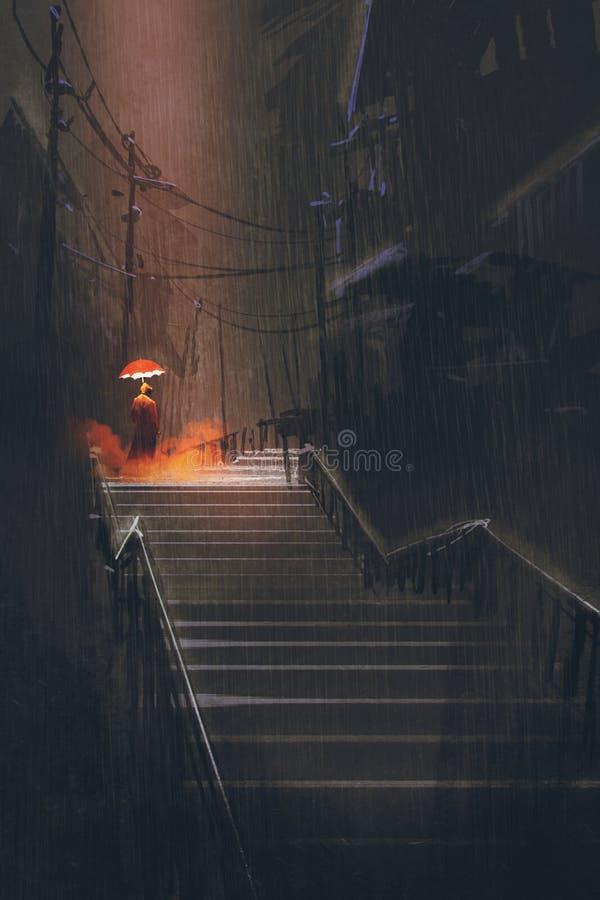 Man med ljusparaplyanseende på trappan i nattregnet royaltyfri illustrationer