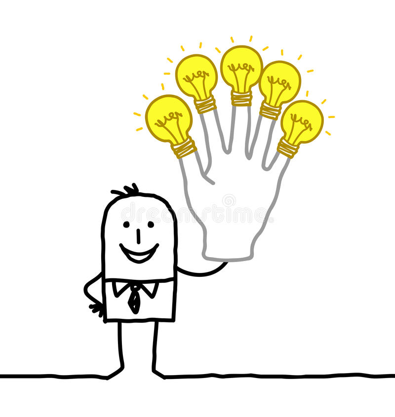 Man med lotten av idéer och energi stock illustrationer