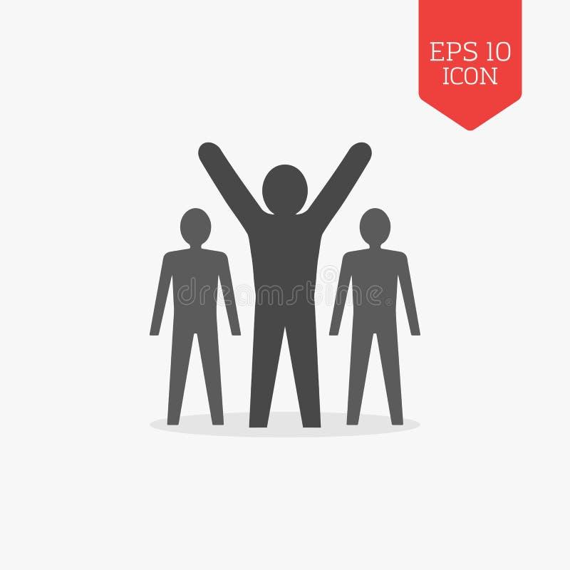 Man med lyftta händer, ledarskap, framgångsymbol Plan designgra vektor illustrationer