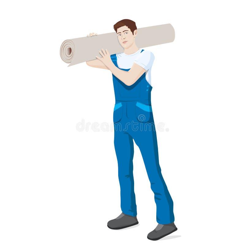 Man med matta Trasa för mattmontörinnehav Bärande rulle för Repairman av mattt på skuldra royaltyfri illustrationer