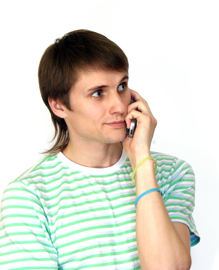 Man med mobiltelefonen royaltyfri foto