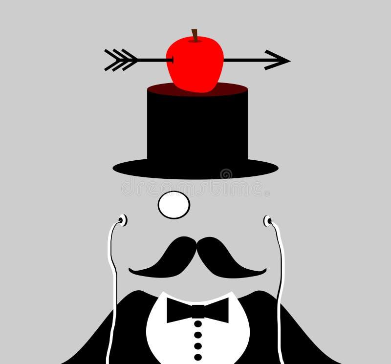 Man med monoclen och mustasch stock illustrationer