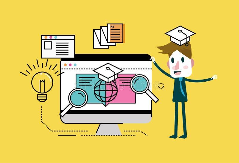 Man med online-utbildning key bärbar dator för datorbegrepp som e lärer silver stock illustrationer