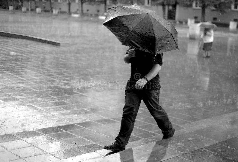 Man med paraplyet i regnet royaltyfri fotografi