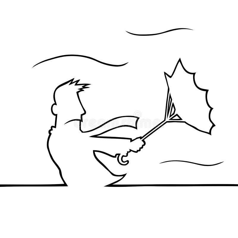 Man med paraplyet i storm vektor illustrationer