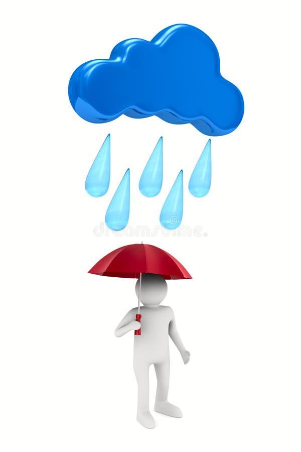 Man med paraplyet på vit bakgrund Isolerad illustration 3d vektor illustrationer