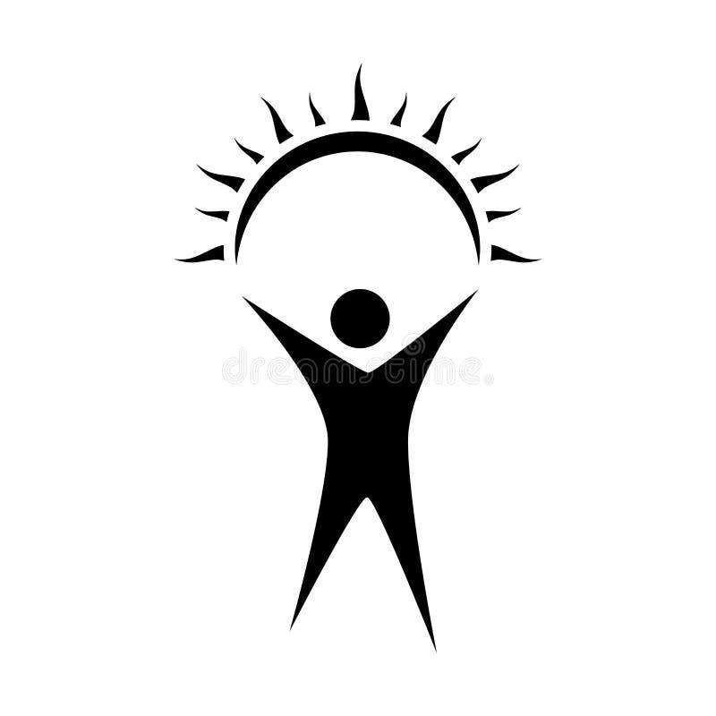 Man med rised händer som rymmer en sol sun för designelementhand Symbol för vektorsol- och manrengöringsduk också vektor för core vektor illustrationer
