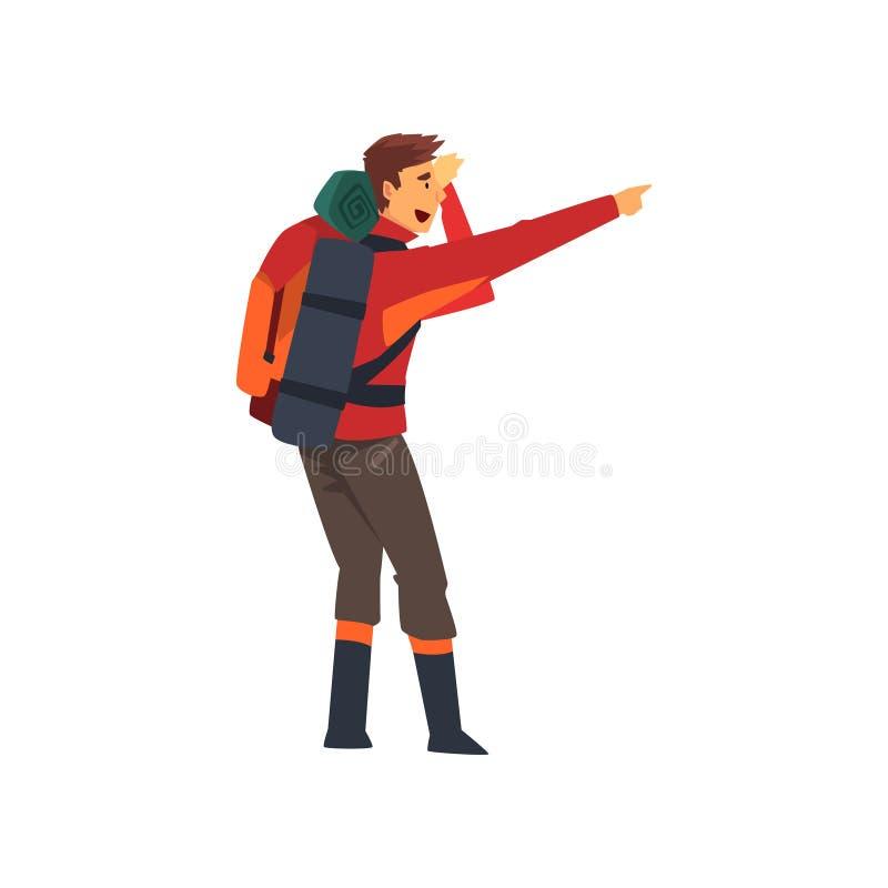 Man med ryggsäcken som pekar med hans finger och att fotvandra affärsföretaglopp, campa vandra tur eller expeditionvektorn royaltyfri illustrationer