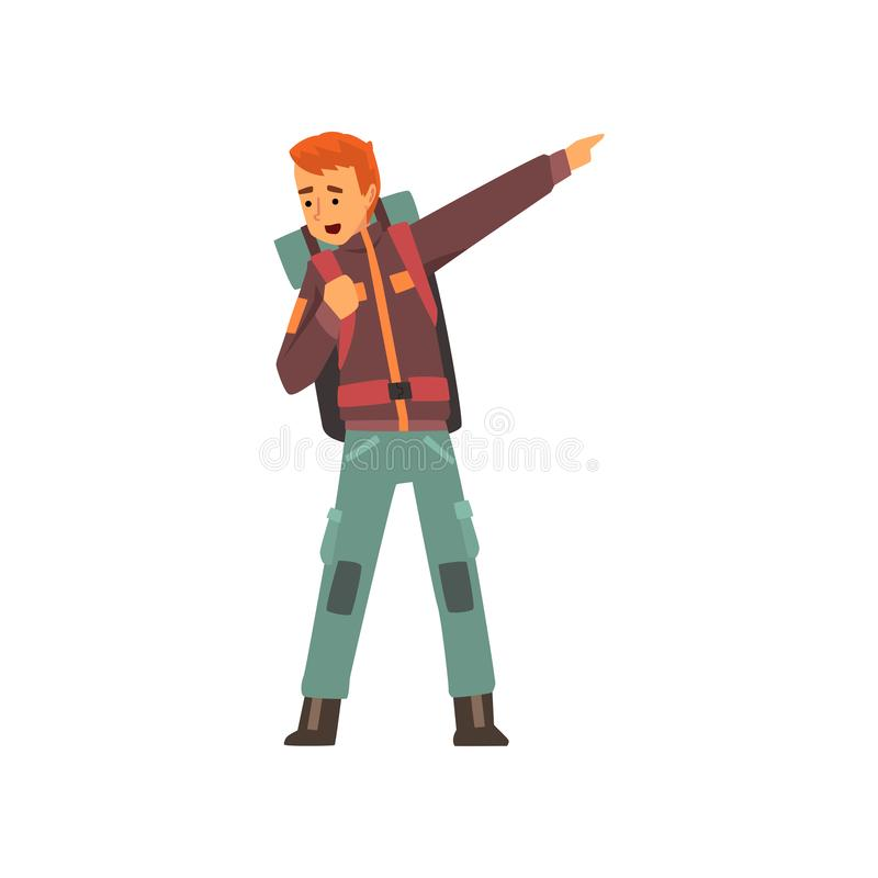 Man med ryggsäcken som pekar med hans finger, utomhus- affärsföretag, lopp, campa vandra tur eller expeditionvektor stock illustrationer