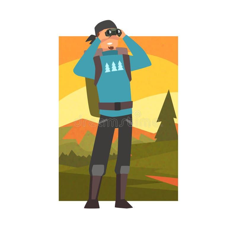 Man med ryggsäcken som ser till och med kikare, grabb i sommarberglandskapet, utomhus- aktivitet, lopp som campar vektor illustrationer