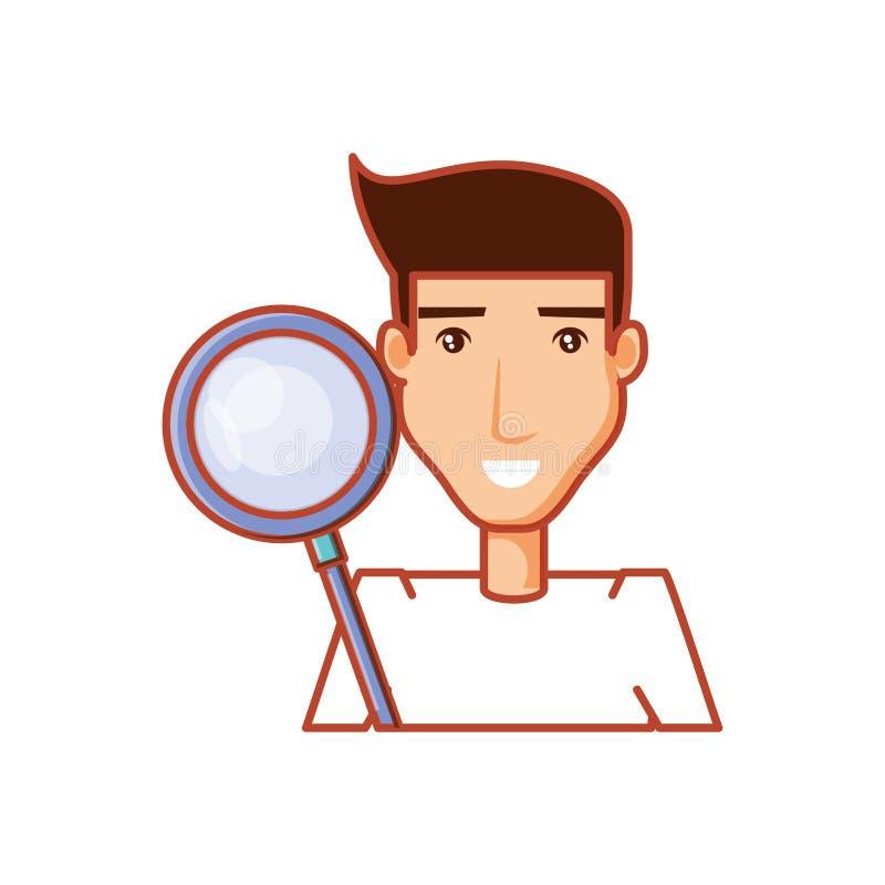 Man med sökandeförstoringsglaset vektor illustrationer