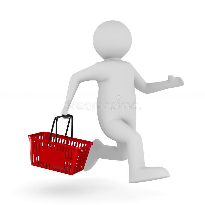 Man med shoppingkorgen på vit bakgrund Isolerad illust 3d royaltyfri illustrationer