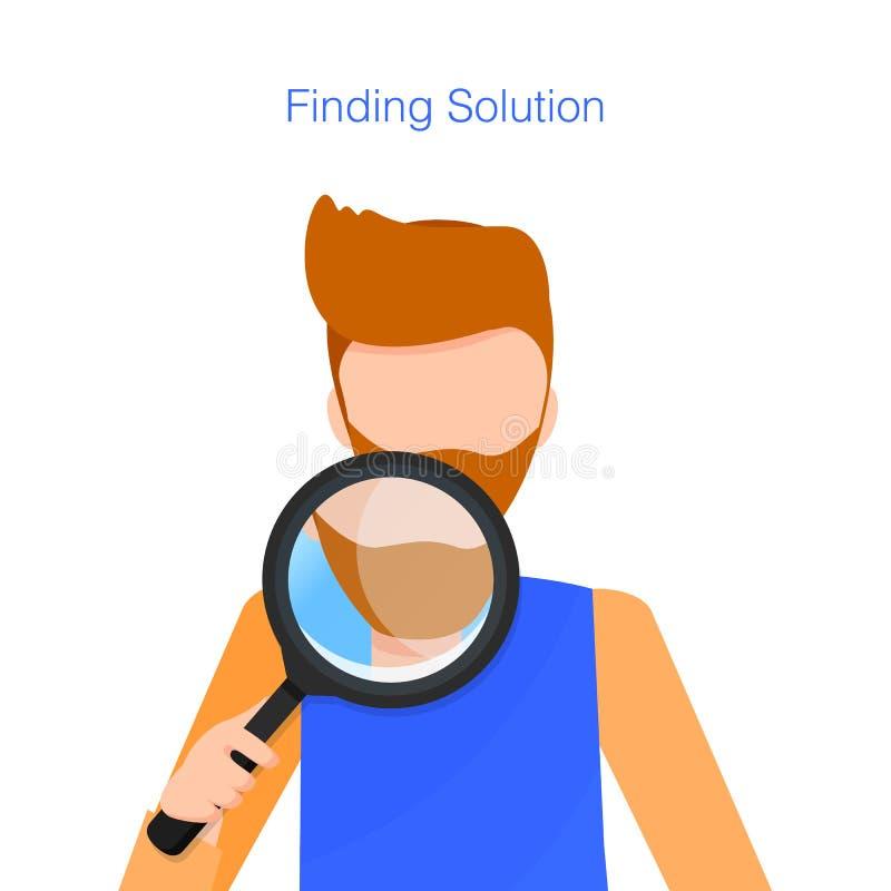 Man med skägghållloupen, medan finna lösningen vektor illustrationer