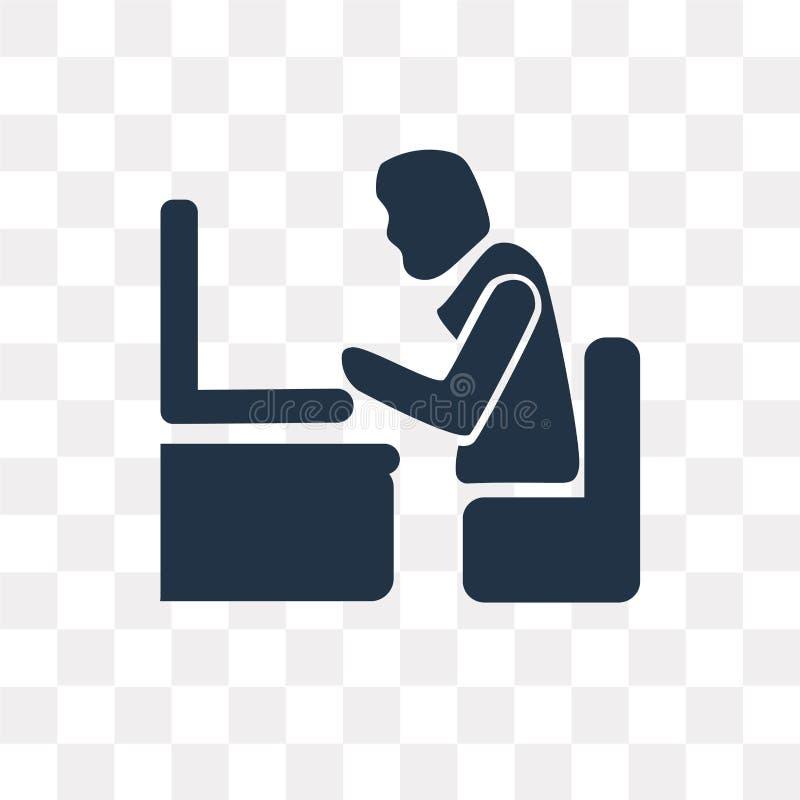 Man med symbolen för vektor för datorskärm som isoleras på genomskinlig bac royaltyfri illustrationer