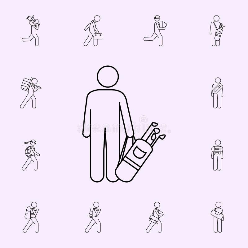 man med symbolen f?r illustration f?r golfp?se Manlig universell upps?ttning f?r p?se- och bagagesymboler f?r reng?ringsduk och m royaltyfri illustrationer