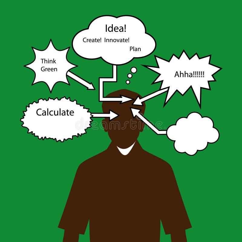 Man med tänkande anförandebubblor stock illustrationer