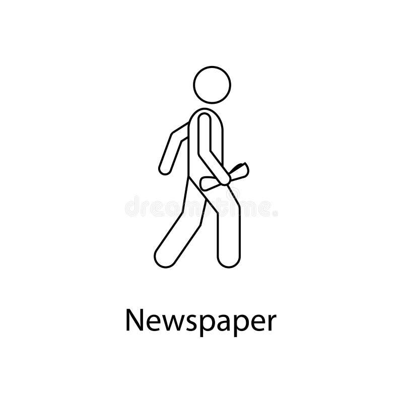 man med tidningsillustrationen Beståndsdelen av en person bär för mobila begrepps- och rengöringsdukapps Tunn linje man med tidni vektor illustrationer