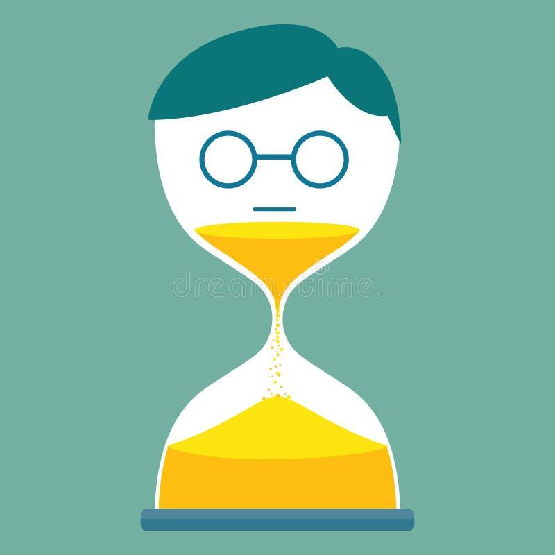 Man med timglas vektor illustrationer