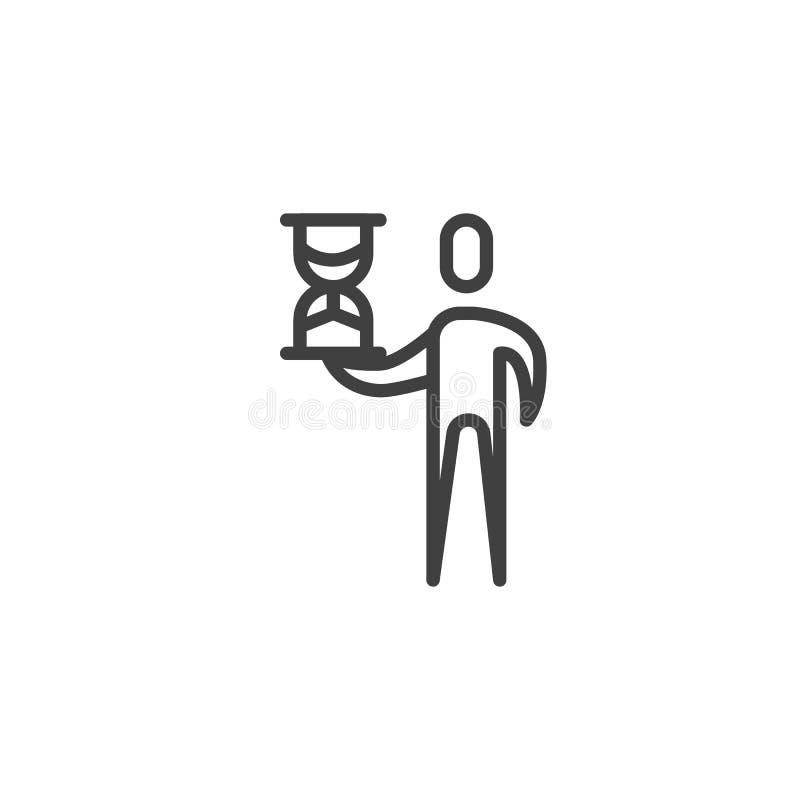 Man med timglaslinjen symbol stock illustrationer