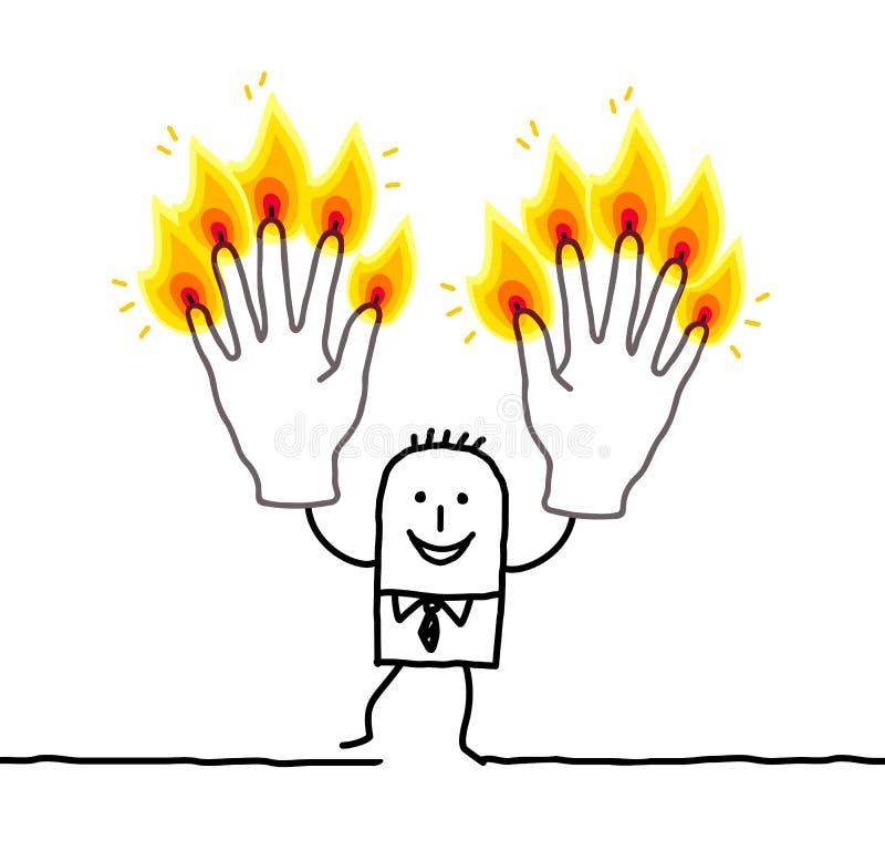 Man med tio brännande fingrar royaltyfri illustrationer