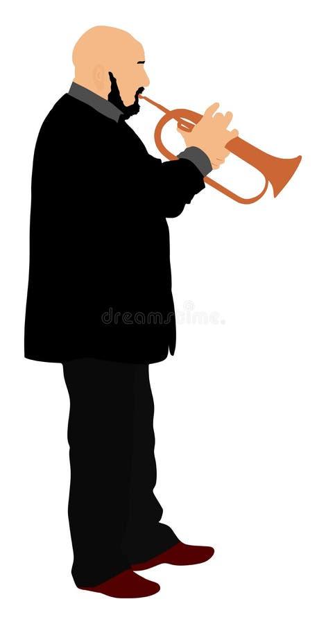 Man med trumpeten på etappvektor stock illustrationer