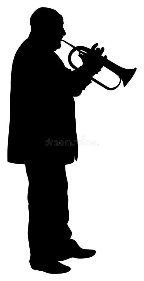 Man med trumpeten på etappvektorkontur stock illustrationer