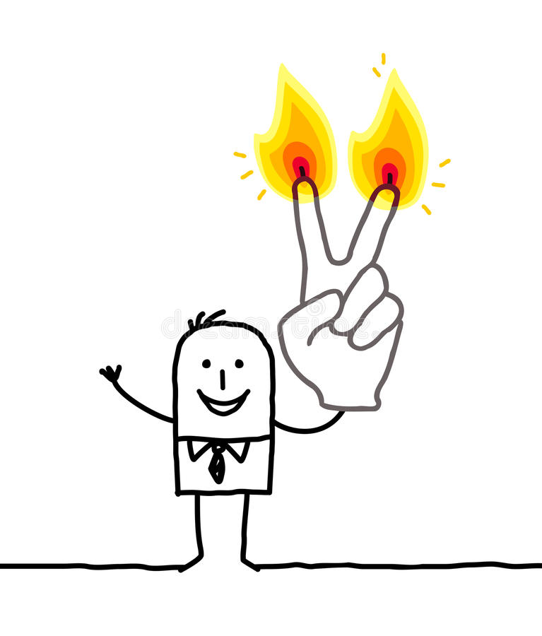 Man med två brännande fingrar stock illustrationer