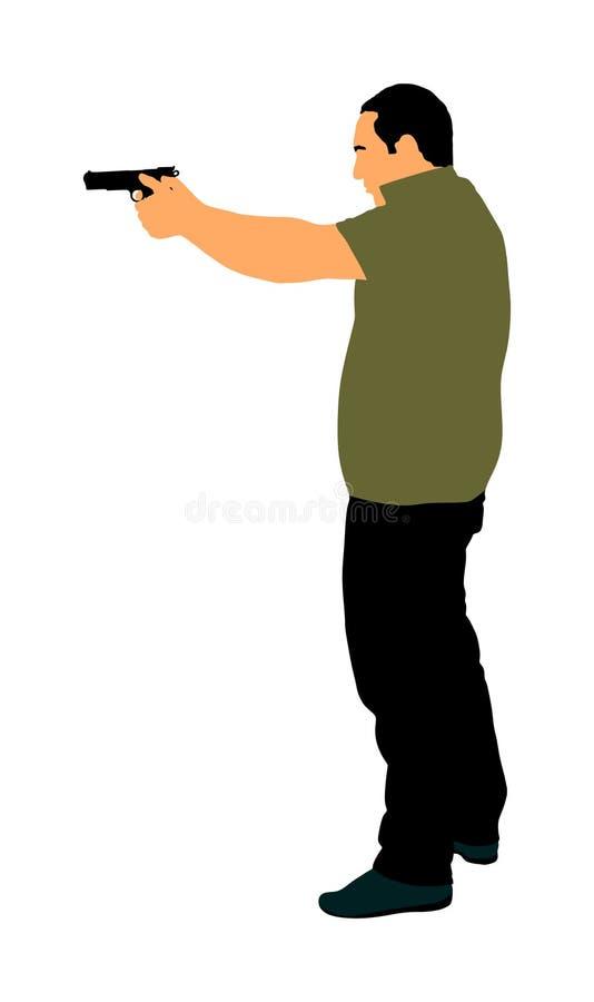 Man med vapenskytteillustrationen Jägare med pistolen i skott Offentlig brottsplats, gunfightstrid Polisen man tj?nstg?rande royaltyfri illustrationer