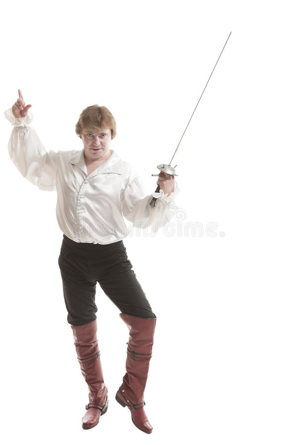 Man in medieval clothes with sword royalty free stock photos