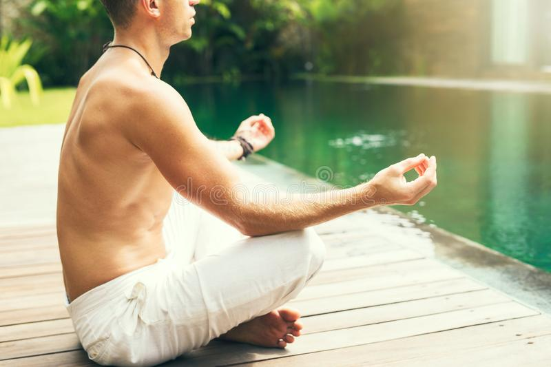 Man meditate in the morning royalty free stock photography