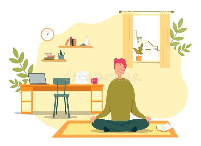 Man Meditate Sitting in Lotus Position on Floor. Cartoon Man Meditate Sitting in Lotus Position. Meditation on Floor Carpet at Living Room in Morning Vector royalty free illustration