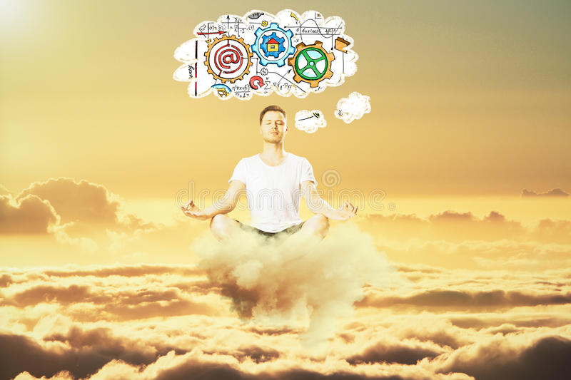 Man meditate in the sky and think about business scheme concept stock photos