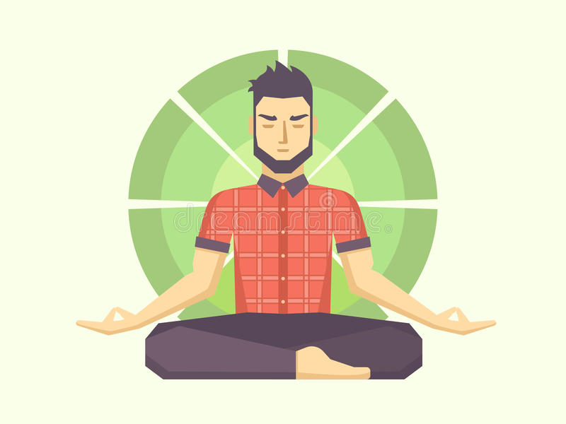 Man meditates in the Lotus position stock illustration