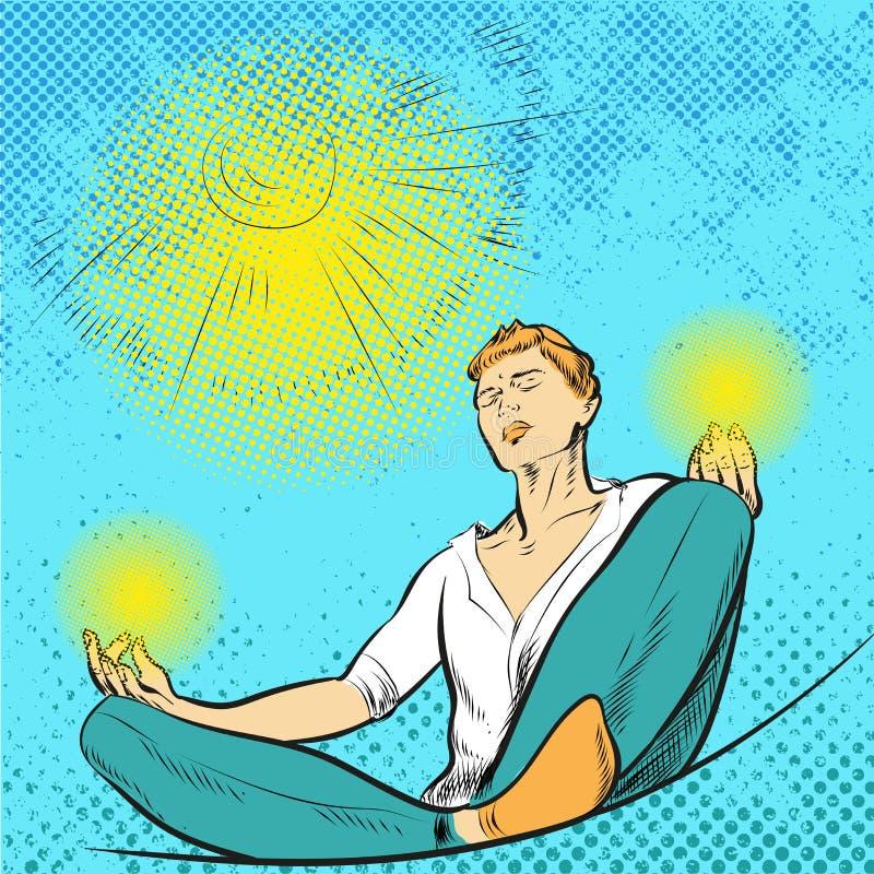 Man meditates in the Lotus position pop art comic style illustration. Man meditates in the Lotus position pop art comic style vector vector illustration