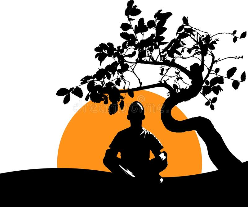 Man meditates in the Lotus position under the backdrop of a spreading tree, the rising sun and nature. Calm pose, mental balance, royalty free stock photography