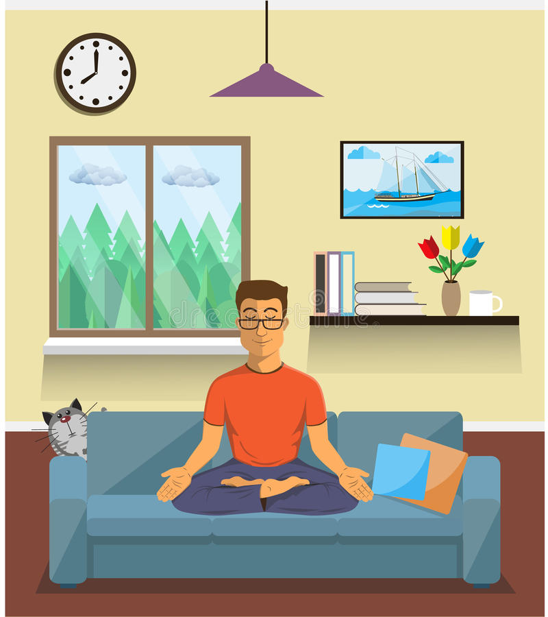 Man meditates in the yoga Lotus position. Home interior. Man meditates in the yoga Lotus position in home interior. Calm pose, mental balance, harmony royalty free illustration