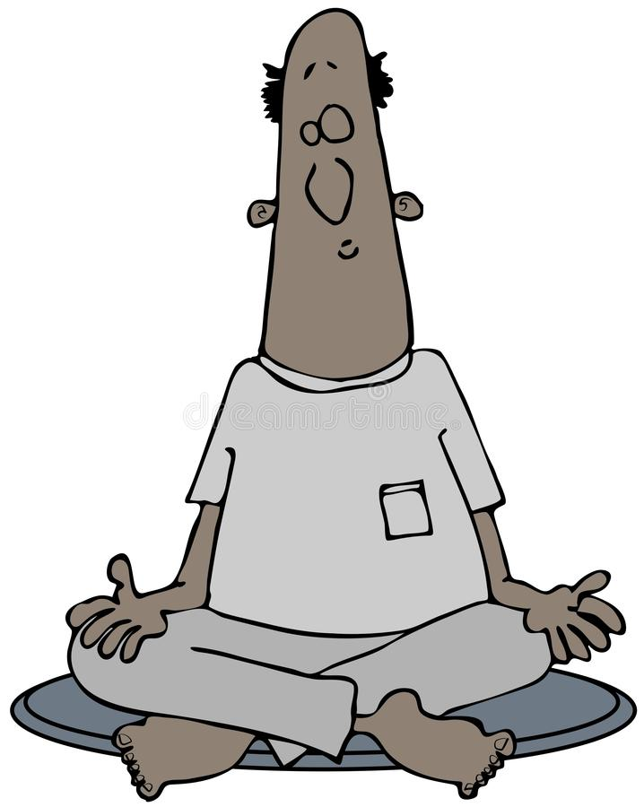 Download Man Meditating With Legs Crossed Stock Illustration - Illustration of closed, barefoot: 37387862