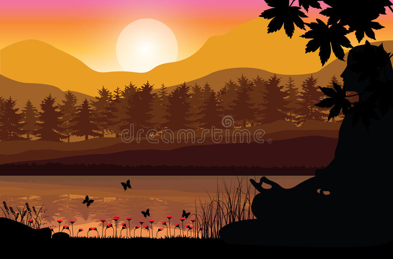 Man meditating in sitting yoga position on the top of a mountains above clouds at sunset. Zen, meditation, peace, Vector. Illustrations top royalty free illustration