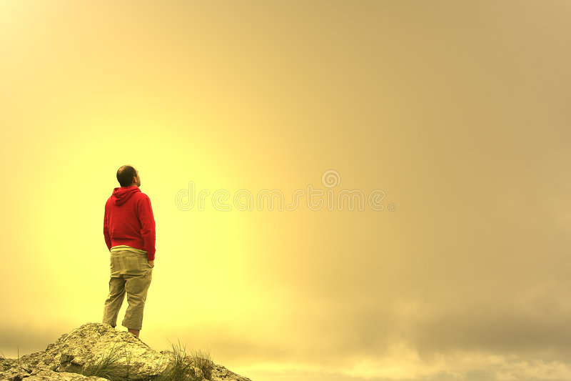 Man in meditation stock image