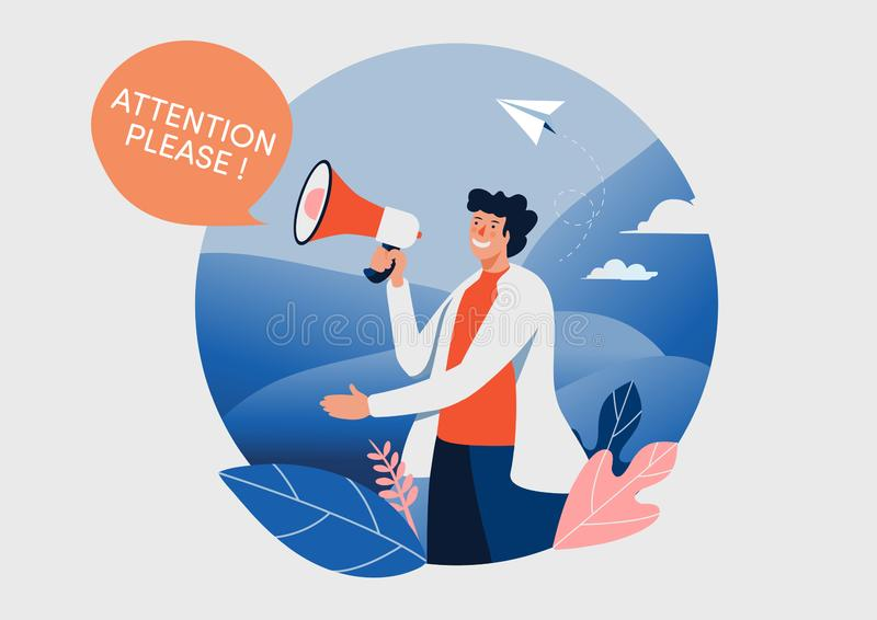 The man and megaphone with attention please word. People vector illustration. Flat cartoon character graphic design. Landing page. Template,banner,flyer,poster stock illustration
