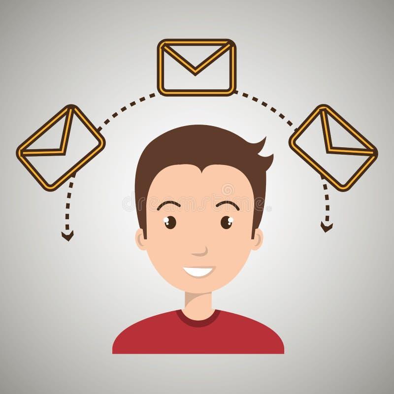 Man message email card. Illustration eps 10 vector illustration