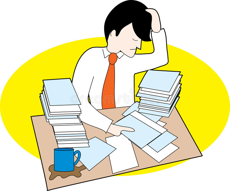 Man with messy desk. A man frustrated with lots of papers and messy desk vector illustration