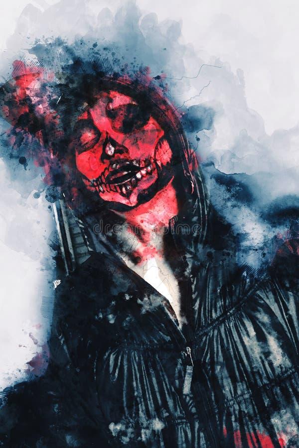 Man met bloedillustratie, halloween beeld conceptie stock afbeeldingen