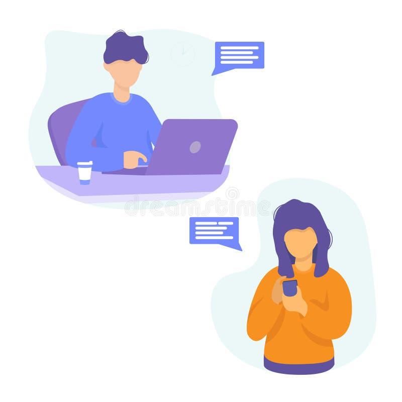 Man met laptop en vrouw met telefoon vector illustratie