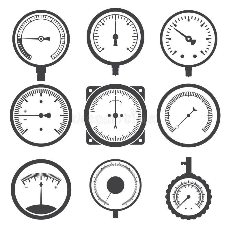 Manômetro (calibre de pressão) e ícones do calibre de vácuo ilustração royalty free