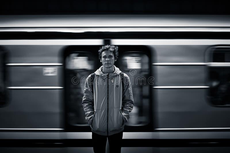 Man at metro station royalty free stock photo