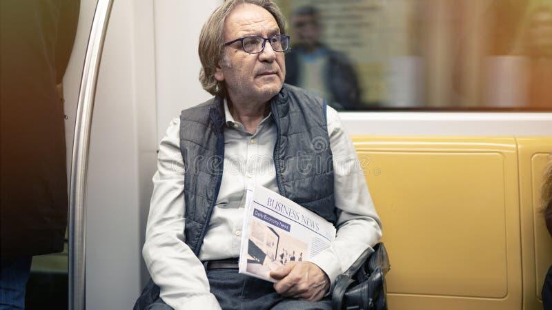 Man in the metro train. Man in the metro  train stock photography